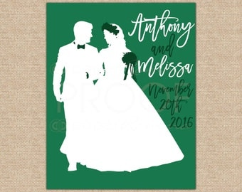 First Anniversary Gift, Unique Gifts for Him, Custom Wedding Art, Silhouette Art, Newlywed Gift, Anniversary Gift // W-G16-1PS AA3