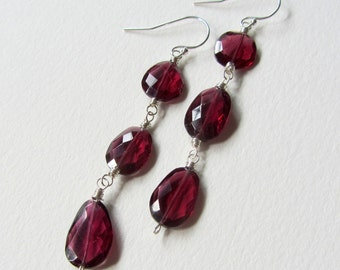 Three Stone Rose Cut Faceted Gemstone Garnet Earrings with Sterling Silver