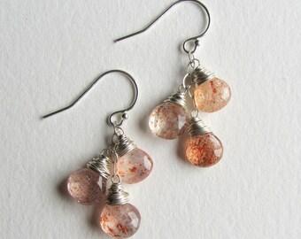 Sunstone Earrings Triple Dangle - Sterling Silver Jewelry Handmade in Seattle