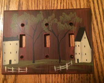 Primitive Red Hand Painted Triple Switch Plate Cover,  Saltbox and Colonial Houses