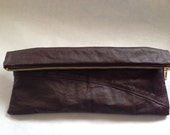 Recycled Leather Clutch--brown