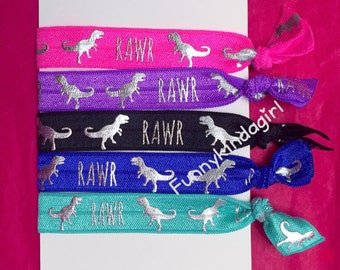 Dinosaur Print Hair Ties Set of 5 Silver Metallic Foil Purple Black Neon Pink Teal Green Royal Blue Wristbands Ponytail Knotted Bracelets