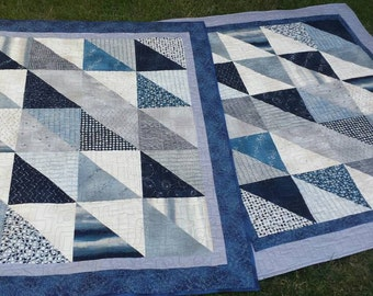 Blue gray quilt celestial throw blanket twin boys gift Nocturne fabric eclipse constellation clouds orbits galaxy moon phases stars