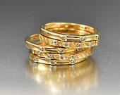 Gold Diamond Stacking Ring Set, Silver Gold Vermeil Band Ring, Diamond Ring, Vintage Wedding Ring, Five Rings, Rustic Wedding Boho Rings