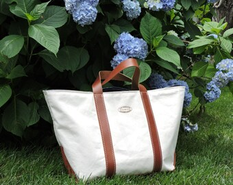 Scituate Beach Tote / Handcrafted / Canvas & Leather Tote / Canvas, Denim and Leather Bag / Classic Carryall