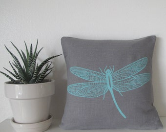 Pillow Cover - Cushion Cover - Dragonfly - 12 x 12  inches - Choose your fabric and ink color - Accent Pillow