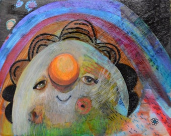 OOAK Sweet Happiness Painting on Panel