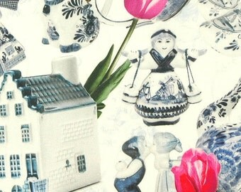 Cotton digital print fabric, digital fabric, dutch blue fabric, kids fabric, royal blue, tulips fabric, holland fabric, Dutch design fabric