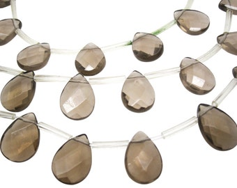 Smokey Quartz Beads Briolettes, Faceted Pear, 10mm x 14mm, 4307A