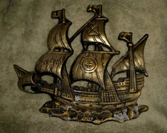 Boat Ship Nautical Decor Antique Metal Sign Architectural Wall Garden Rustic Crusty