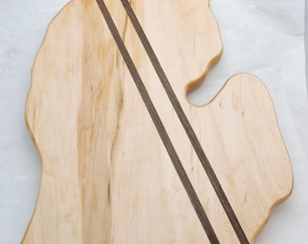 Michigan Shaped Cutting Board - FREE Shipping - Maple with Walnut accents - In Stock Ready To Ship