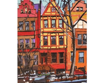 NYC Painting New York Art Hamilton Heights Washington Heights Architecture Wall Decor Print 5x7, 8x10, Cityscape  Painting by Gwen Meyerson