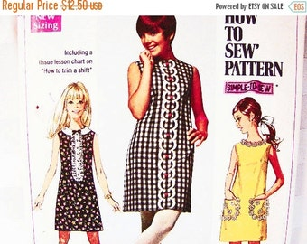 Sewing Pattern SALE 1960s Dress Pattern Misses size 12 Womens Sleeveless A Line Dress Vintage Sewing Pattern Easy to Sew