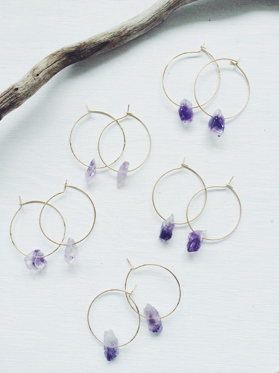 Raw Amethyst Crystal, Simple Golden Hoops, Boho Jewelry