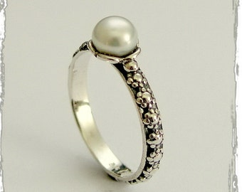 Floral thin ring, sterling silver ring,  floral band, fresh water pearl ring, single pearl ring, dainty silver ring - Signs of time R1694