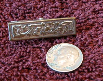 Authentic Antique Victorian Tie Clip Embossed with an Ornate Flower Design Pat. June 6, 1892