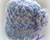 Made and Ready to Ship  !!Newsboy Cap Puppy Dog Tails SizeNewborn - 3 Months Purple and Blues