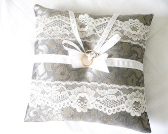 Wedding Pillow...Silver Charm 2...Ring Bearer Pillow...Elegant and Sophisticated