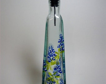 Olive Oil Pyramid Bottle Texas Bluebonnets recycled glass hand painted