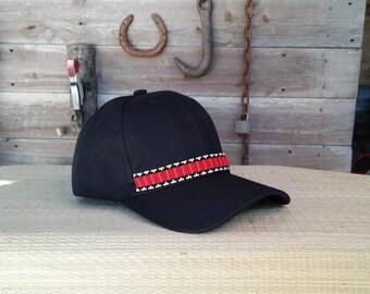 Native Beaded Baseball Cap, Hat,Yurok,Hupa,Karuk,Tolowa, Wyiot. Pomo.Miwok.Miwuk.Woodpecker.Flicker. Jump dance.Headdress.