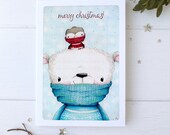 "greeting card - card - polar bear - bird - nature - winter - sweater - animals - ""WINTER WARMTH!"""