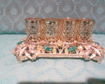 Sam Fink 1960's Gold Plated Filigree Lipstick Holder With Crystals vanity Bathroom Piecee