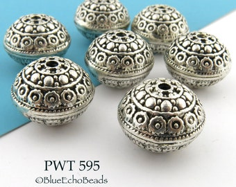 18mm Large Pewter Bali Style Bead Antique Silver Bead (PWT 595) 3 pcs BlueEchoBeads