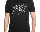 Dancing Skeletons Men's Black T-shirt, Unisex  black t-shirt, glo-in-the-dark, graphic tee, Gift for him