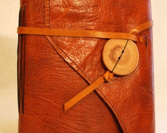 Large Burnt Orange Leather Journal with Lined Paper