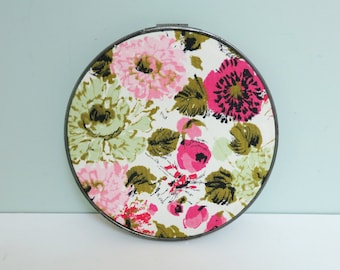 Small 1970s Floral Fabric Swatch Portrait Embroidery Hoop Art in Magenta, Pink, Celadon and Olive Green with Back Accents
