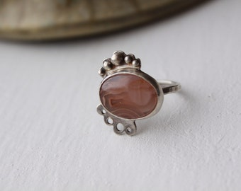 SALE - 40% off! - Pterux Ring - size 6.75 - pink agate