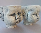 Grumpy baby head shot glasses, espresso shot glasses, sake cups, demitasse