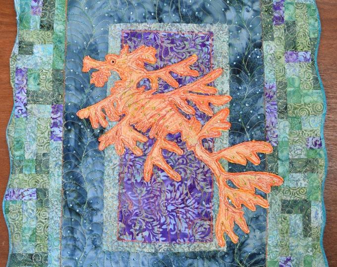 Leafy Seadragon  art wall quilt by Cindy Watkins