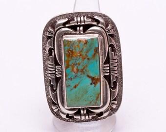 Navajo Turquoise Ring -BIG Modern Sterling Cast - sz 7 1/2 Adjustable - Best Buy