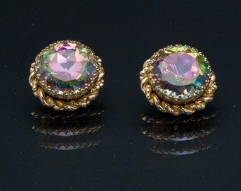 Vintage Earrings Schiaparelli - 50s/60s - Watermelon Rhinestone Clips