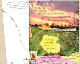 Mixed media collage card-Garden Sympathy