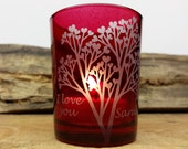 Personalized FREE SHIPPING Includes Gift Box Red 'Tree Of Love' Engraved Glass Votive Holder Valentine's Day Gift