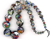 "Antique End of Day Beads Graduated Multicolor Faceted 14.5"" Strand"
