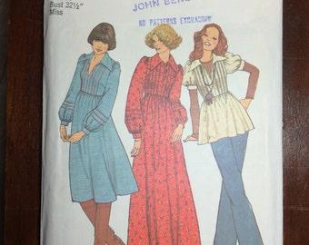 "7191 Simplicity Sewing Pattern 1970's Womens dress, top Sz 10 Bust 32 1/2"""