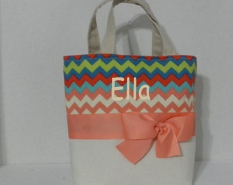 Ivory / Mix  Chevron  Monogrammed/Personalized Tote, Purse, Bridesmaid Gift, Flower Girl, MOB, MOG,Cheer Squad, Brownie