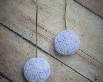 Hand Made Clay Head Beads - Lilac Polymer Clay Beads molded from Antique buttons washed in White on antiqued brass beading wire