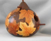Autumn Leaves Hand Painted Gourd Bird House