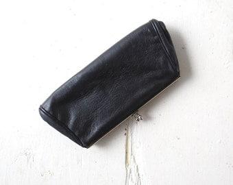 Vintage 1950s Bag / Deerskin Purse / Black Leather Clutch / Deerskin Wallet