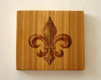 Fleur De Lis Engraved Cedar Sign Fleur De Lys Rustic Wood Sign Laser Engraved