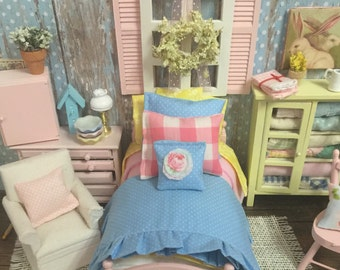 Spring Pastel Bedding Set only -1:12 dollhouse miniature