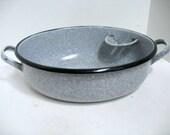 Antique Graniteware Wash Basin Pan with Built in Soap Holder Vintage Enamelware Baby Bath Pan Commode Pan Rare