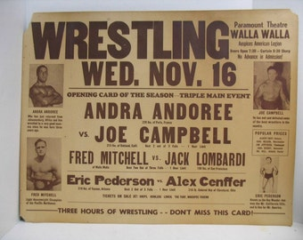 """Vintage Wrestling Poster, Paramount Theatre, Fred Mitchell Eric Pederson Apollo Superman Campbell Cenffer Andoree NW Sports, Large 22"""" x 28"""""""