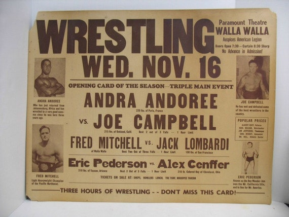 "Vintage Wrestling Poster, Paramount Theatre, Fred Mitchell Eric Pederson Apollo Superman Campbell Cenffer Andoree NW Sports, Large 22"" x 28"""