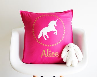 Personalised Sparkly Unicorn Cushion -personalized - unicorn - girl's bedroom - gift for girl - glitter - gift for friend - pink pillow