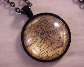 Atlas Map Necklace / Paris Map Necklace / Paris France Necklace